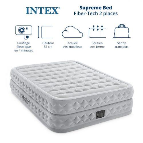 matelas électrique gonflable 2 places intex supreme bed queen fiber tech