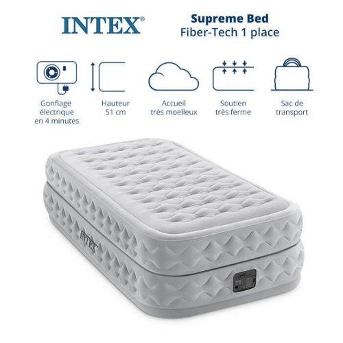 matelas electrique gonflable 1 place intex supreme bed fiber tech