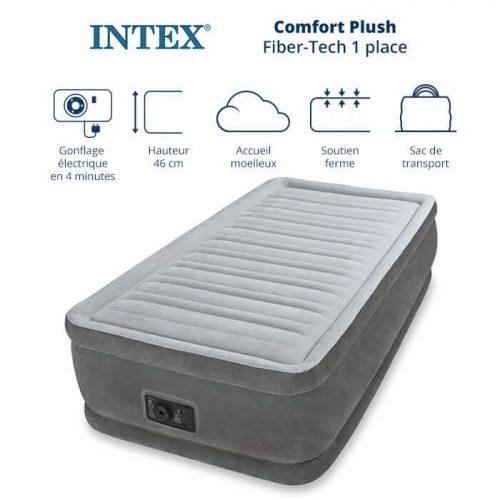 matelas gonflable intex comfort plush fiber tech 1 place